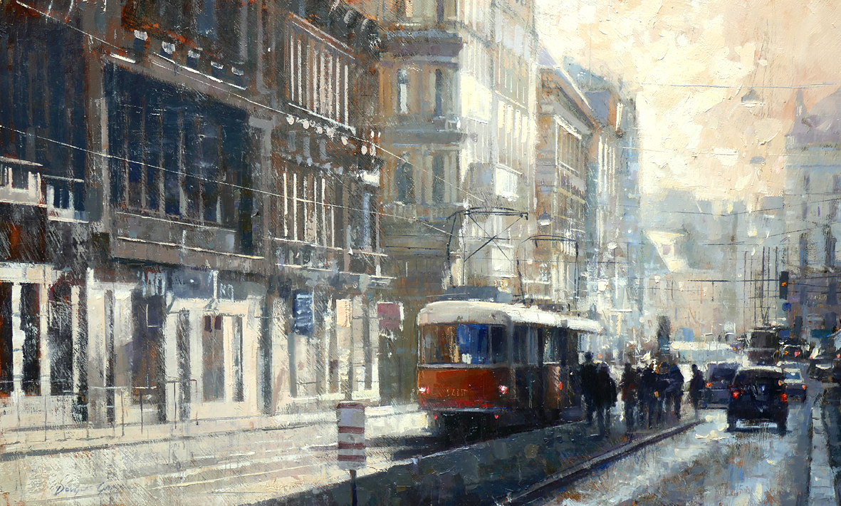 Orange Tram, Prague by DOUGLAS GRAY RSMA