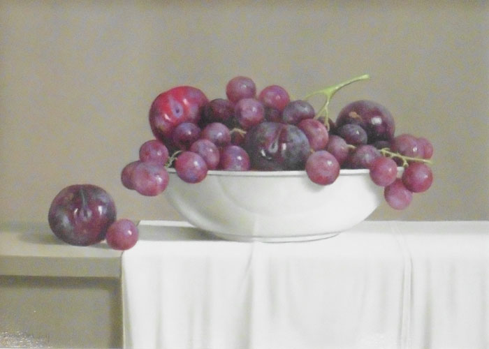 Bowl of Plums and Grapes by TONY DE WOLF