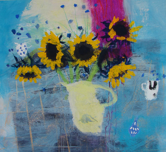 Sunflowers and Scabious by CAROLINE BAILEY RSW