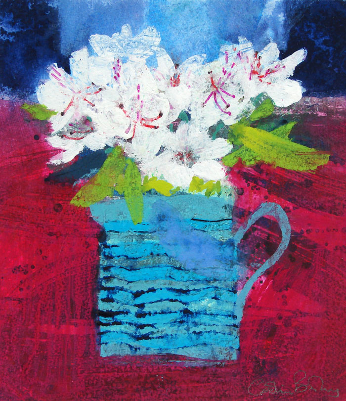19 Flowers in Turquoise Jug by CAROLINE BAILEY RSW