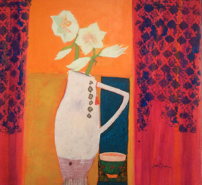 Amaryllis on Orange by JANET GOLPHIN RWS
