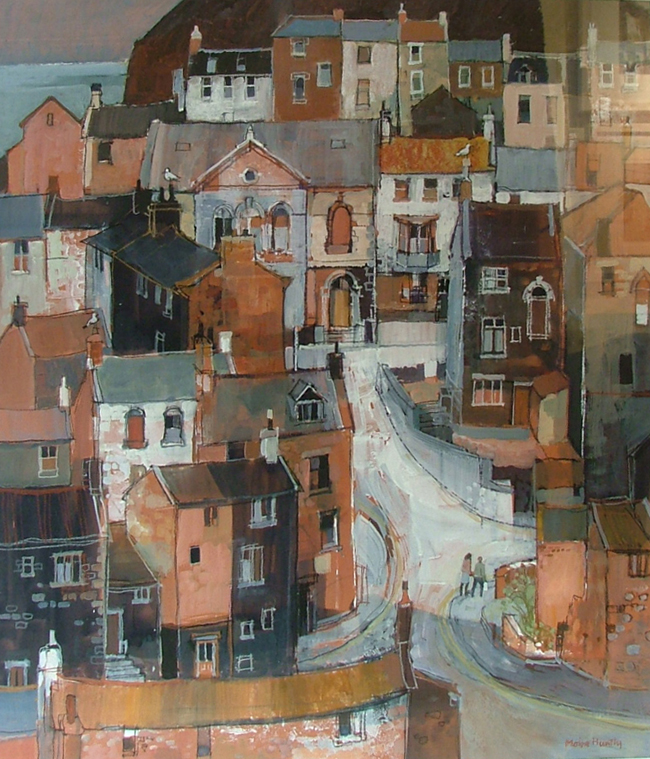Staithes ii by MOIRA HUNTLY RI, RWA, VPPS, RSMA