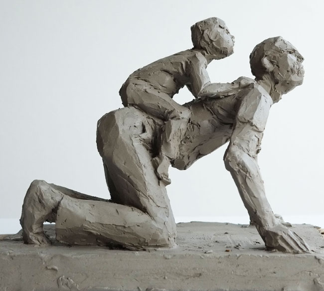 Father and Child, all fours by CHRISTOPHER KELLY