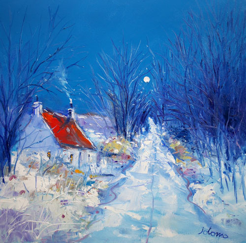A Quiet Snowy Evening near Skipness, Argyll by JOHN LOWRIE MORRISON