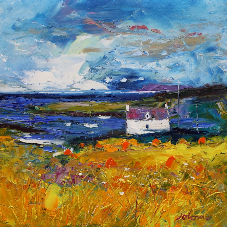 Summer Storm Passing, Isle of Barra by JOHN LOWRIE MORRISON