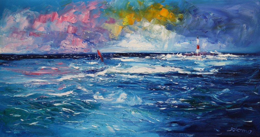 Rough Seas, Heading round Dhu Heartach Lighthouse by JOHN LOWRIE MORRISON