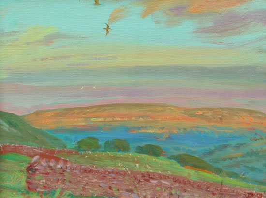 August Sun on Penhill, with Curlews, Wensleydale by