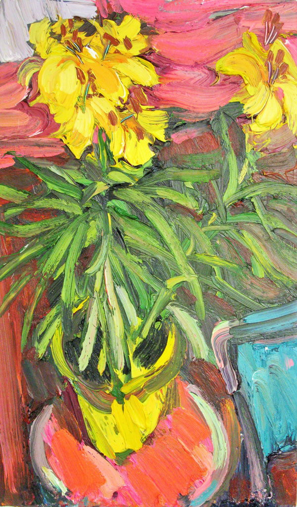 Yellow Lilies in a Yellow Pot by EDWARD BEALE