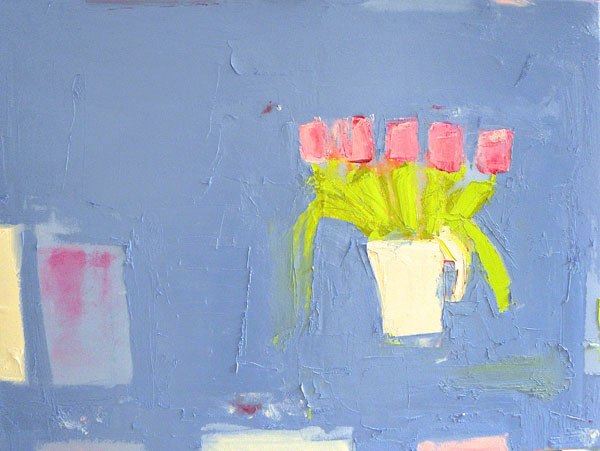 Tulip Still Life against Kings Blue Oil by