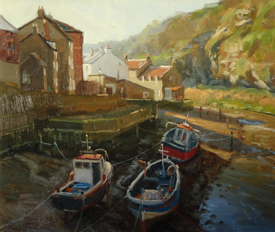 Winter Sun, Staithes by DAVID ALLEN
