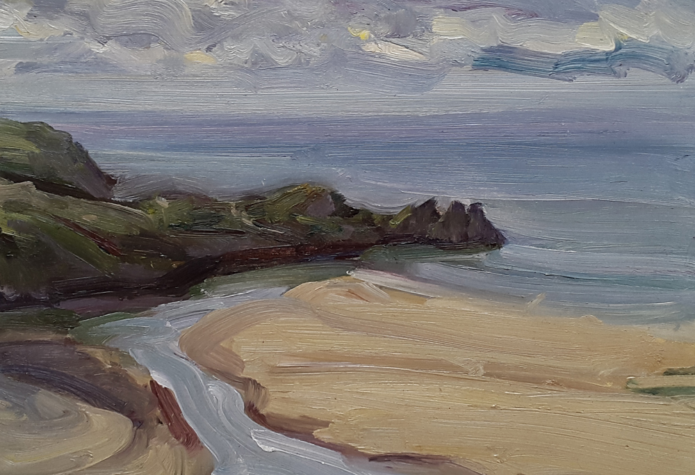Three Cliffs Bay, Gower, Calm Morning by LAWRENCE QUIGLEY