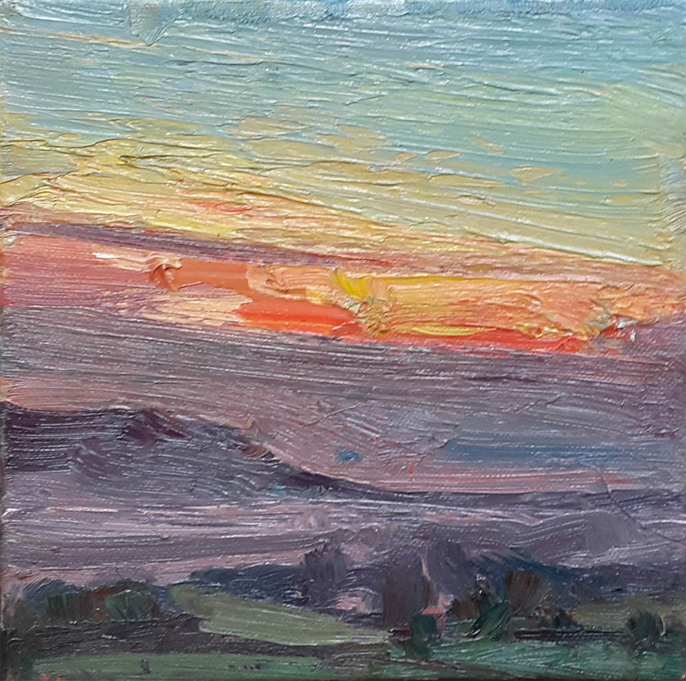 View towards Sussex Downs, Sunset by LAWRENCE QUIGLEY